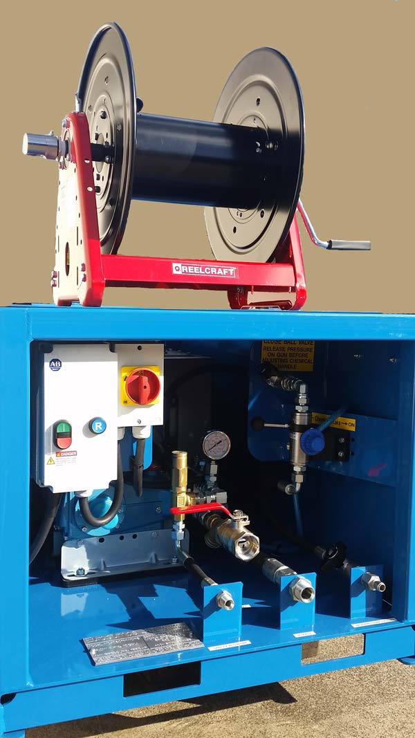 Oil & Gas hose reel wash down system