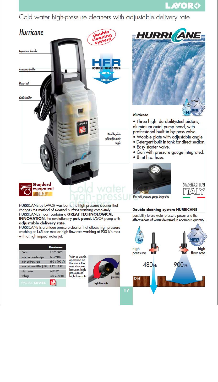 Hurricane Cold Water High Pressure Cleaner Europumps Ireland